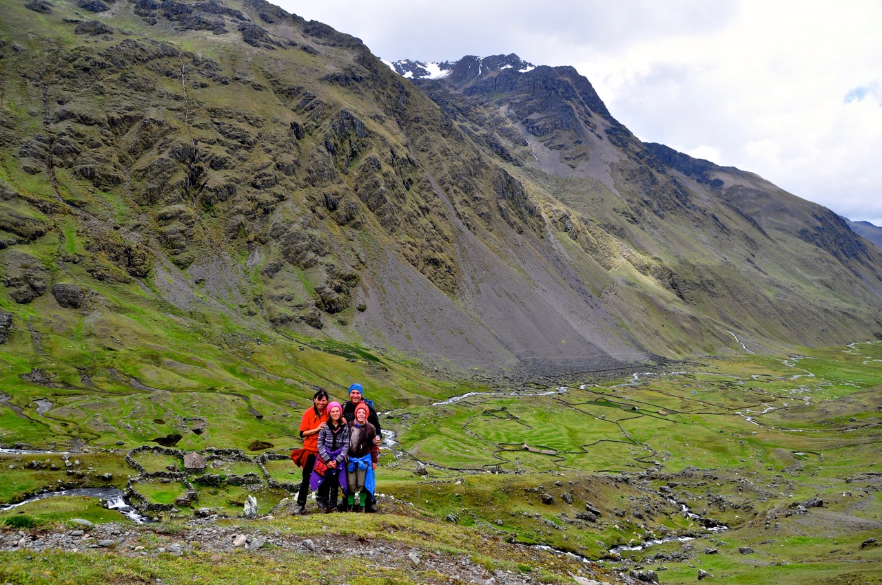 Family on final day's Trek in remote Peruvian Andes