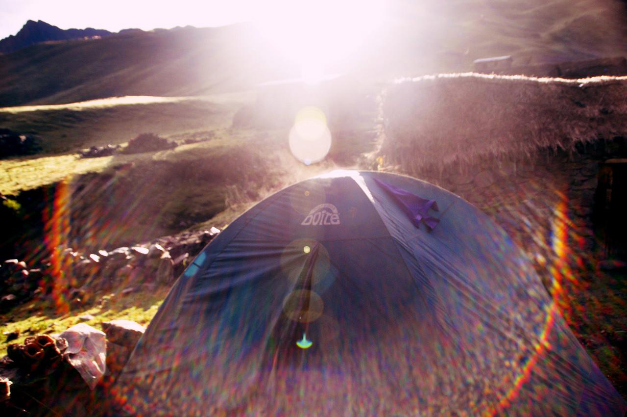 Sunrise over tent