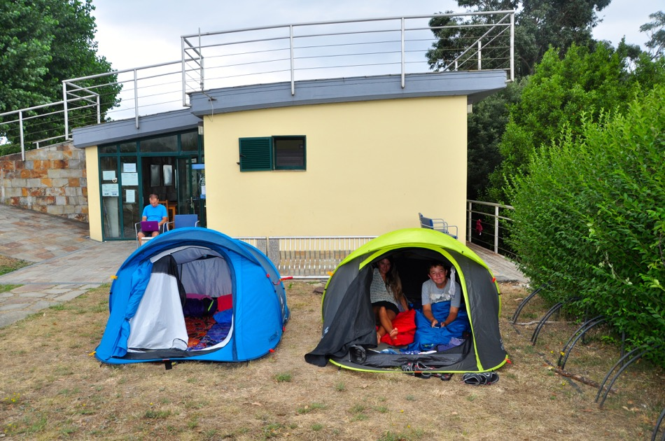 Tents set up at Ribadeo Albergue