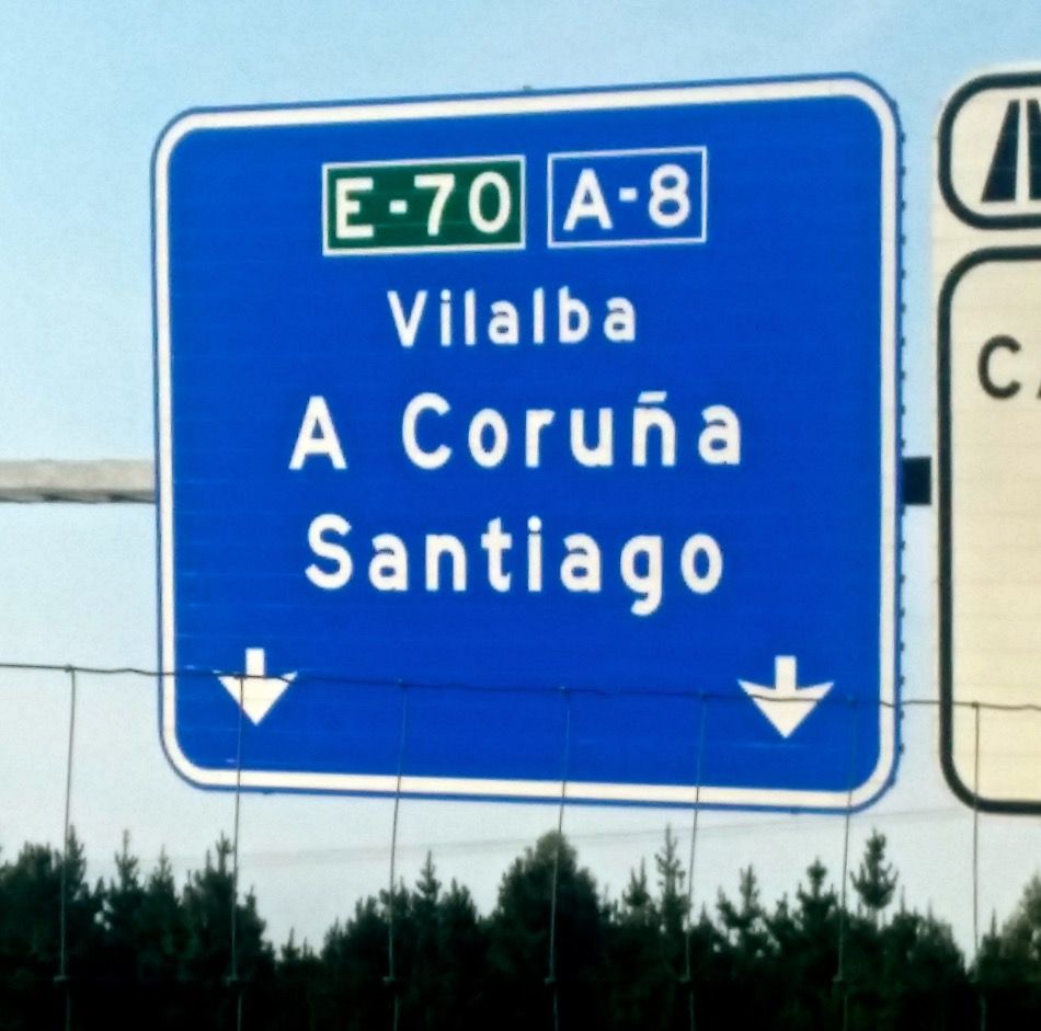 Spotted first sign to Santiago!