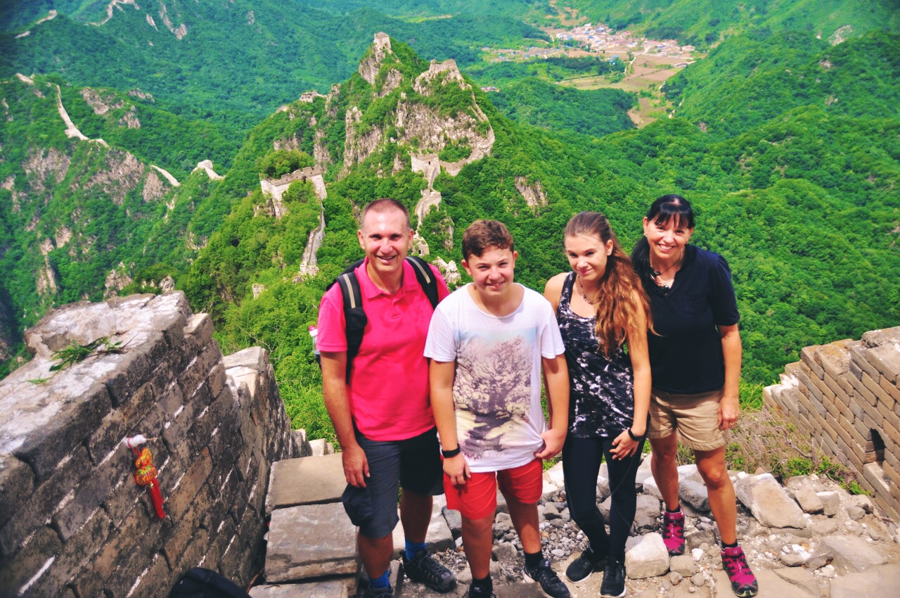 Family on The Great Wall Hiking