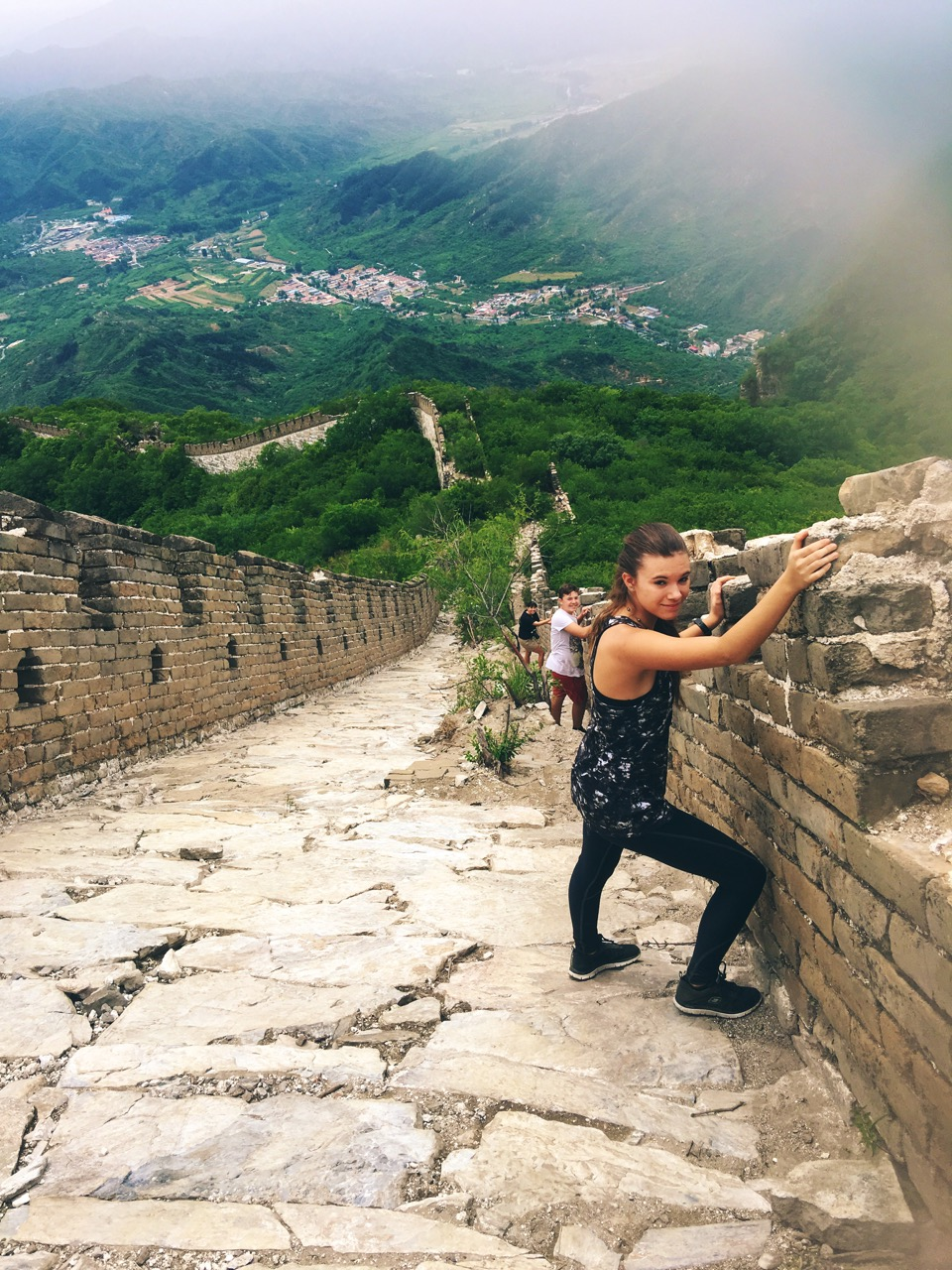 Reka's Steep Descent on Great Wall Hiking