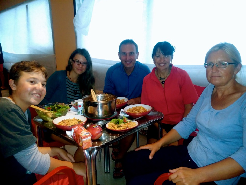 Sharing dinner with new friends on the Camino