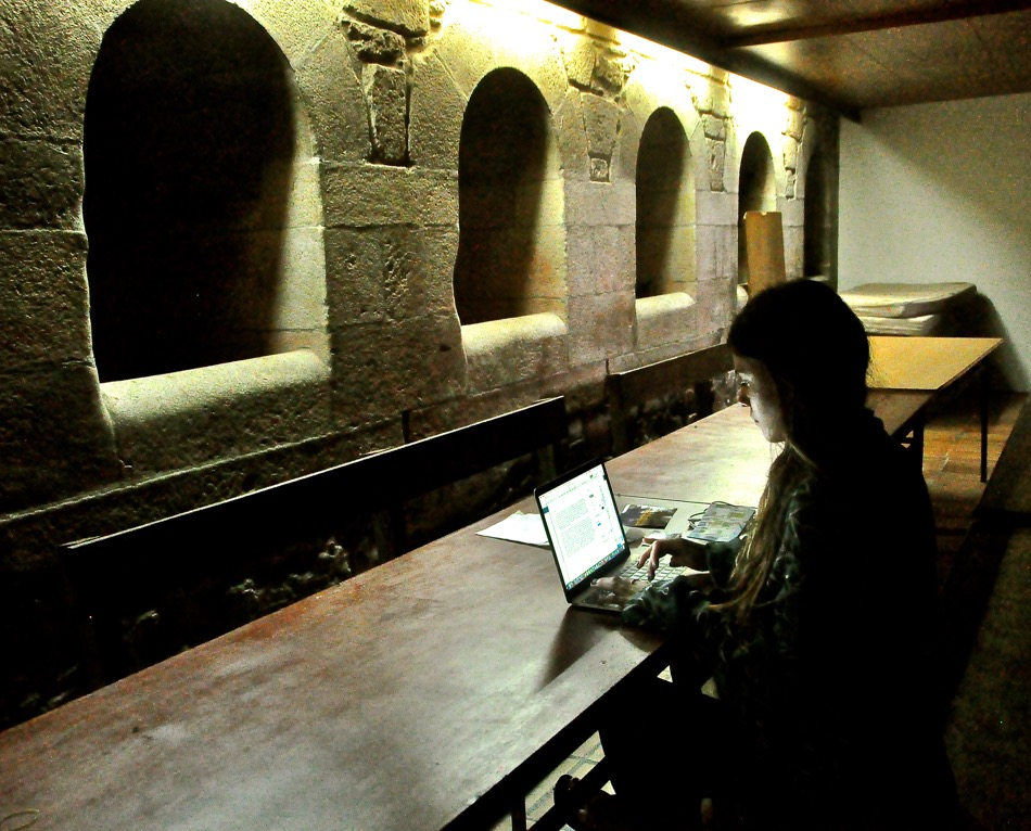 Reka writing at the Monastery 1