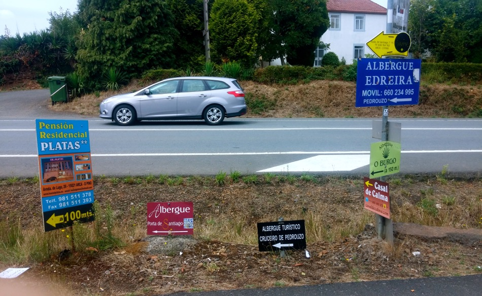 Ads for Albergues on the Camino